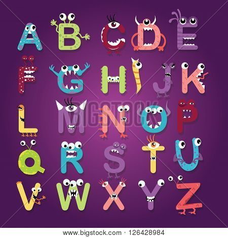 alphabet font monster character fun kids funny color-full letters abc design vector illustration drawing
