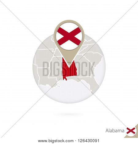 Alabama Us State Map And Flag In Circle. Map Of Alabama, Alabama Flag Pin. Map Of Alabama In The Sty