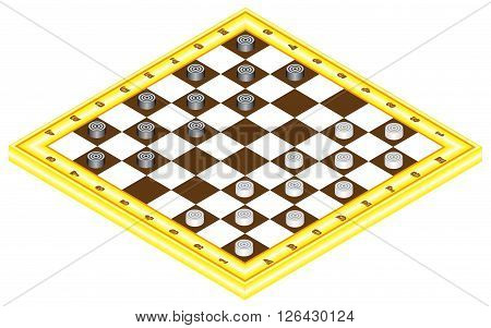 Checkerboard with checkers. Board game for children and adults. Chessboard in perspective. Wooden checkerboard with checkers spaced