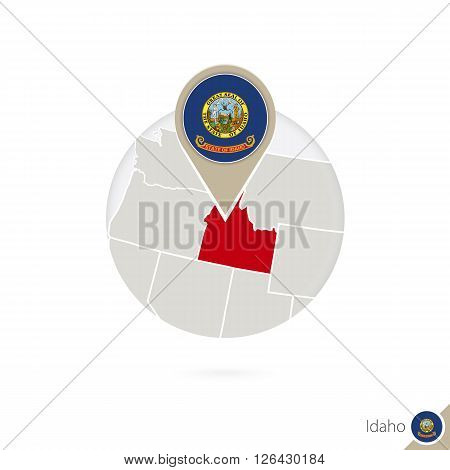Idaho Us State Map And Flag In Circle. Map Of Idaho, Idaho Flag Pin. Map Of Idaho In The Style Of Th