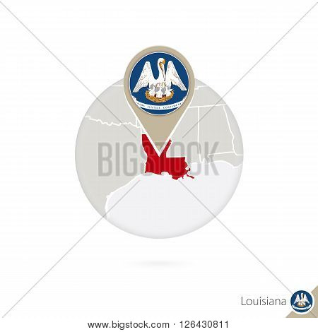 Louisiana Us State Map And Flag In Circle. Map Of Louisiana, Louisiana Flag Pin. Map Of Louisiana In