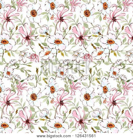 watercolor seamless pattern honeysuckle and wild rose on white background