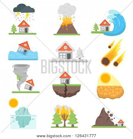 Home insurance business set vector illustration with house icons suffering from natural events or disasters.