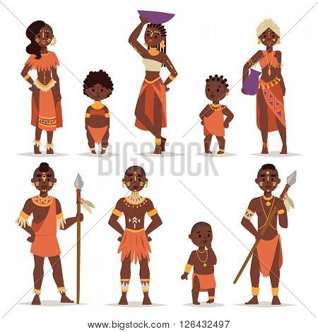 Maasai couple african people in traditional clothing happy person families vector illustration.
