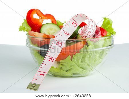 Picture of a plate with greek salad and tape- measure