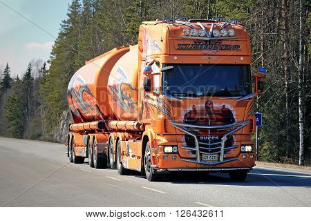FORSSA, FINLAND - APRIL 16, 2016: Super tank truck Shogun Scania R620 on the road in Forssa. The multiple Nordic Trophy truck show winner by Kuljetus Auvinen is currently owned by Terho Lehtinen Oy.