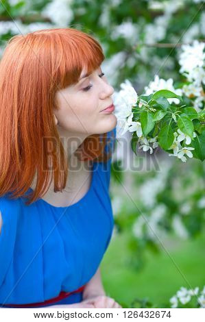 Beautiful ginger-haired woman in blue dress smelling apple-tree