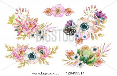 Watercolor flower arrangement in vintage style with feathers and cacti.