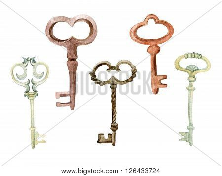 Retro keys set. Antiques key for your design. Hand painted illustration isolated on white background