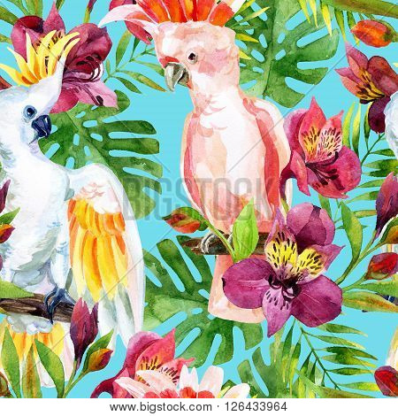 watercolor Australian Cockatoo on flowers background hand painted seamless patern with parrots alstroemeria and tropical leaves