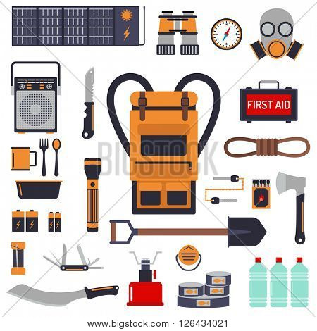 Survival emergency kit for evacuation vector objects set.