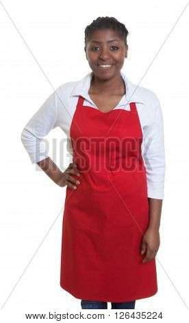 Standing african american waitress on an isolated white background for cut out