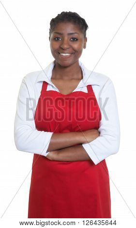 Laughing african american waitress on an isolated white background for cut out