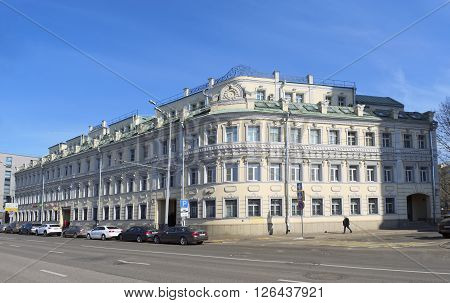 MOSCOW, RUSSIA - MARCH 28, 2016: Business Center Palazzo on Tsvetnoy Tsvetnoy Boulevard house 16/1 architect Manohin built in 1880 in the