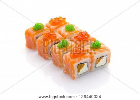 Salmon Sushi Roll With Red And Green Vaciar Isolated On White Background