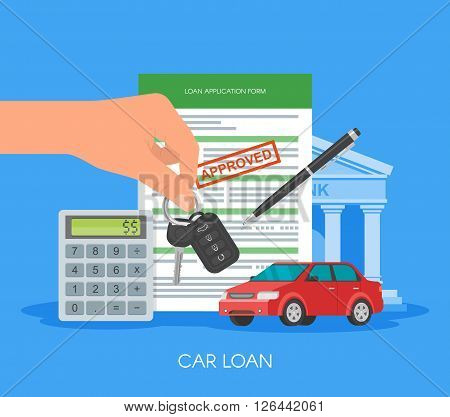 Approved car loan vector illustration. Buying car concept. Hand holding car key.