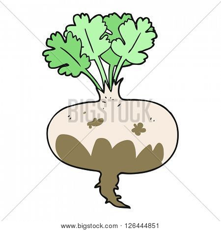 freehand drawn cartoon muddy turnip