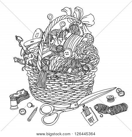 Hand-drawn Uncoloured Needlework items Clothes buttons, needles, thread, pins, scissors black and white  ornament in adult coloring book style. Could be use  for adult coloring book  in zenart style. poster
