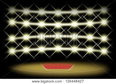 Basketball court in dark with spotlight background which free throw zone is red color. Illustration for use about spot concept