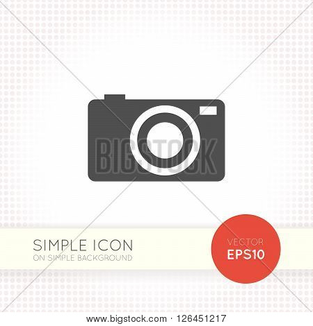 Photo camera icon. Photo camera vector. Photo camera eps. Photo camera image. Photo camera ai. Photo camera logo. Photo camera shape. Flat icon on simple background.