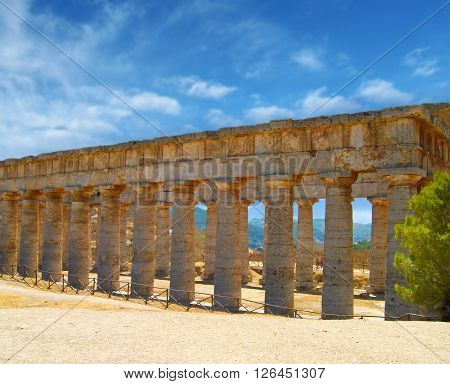The Hellenic temple at Selinunte in Sicily in Southern Italy