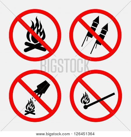 A set of signs prohibiting fire, put out the fire is prohibited, prohibited fireworks, signs of anxiety, no open fire, fully editable vector image
