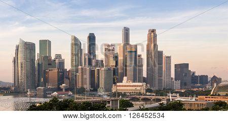 Sunrise Of Singapore Skyline