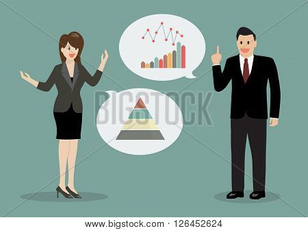 Two business men discussing financial planning. Vector Illustration