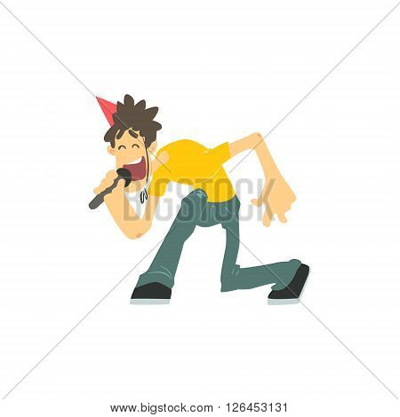 Guy With Spiky Hair Singing In Karaoke Flat Isolated Simple Cartoon Style Vector Illustration On White Background