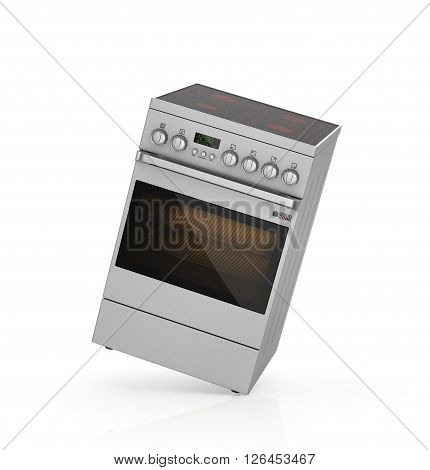 Modern steel electrical cooker isolated on white with clipping path. 3d illustration