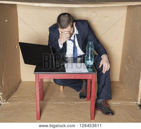 Businessman Broke And Drunk