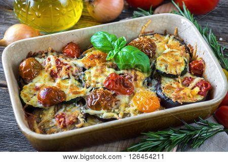 Eggplant,zucchini And Tomato With Mozzarella In Casserole