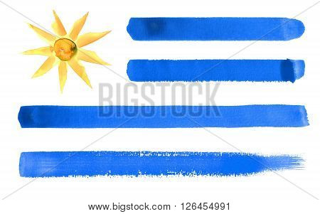 a watercolor illustration of the Uruguay flag