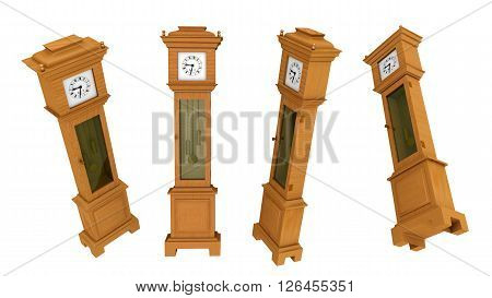 Computer generated 3D illustration with a longcase clock in various positions isolated on white background