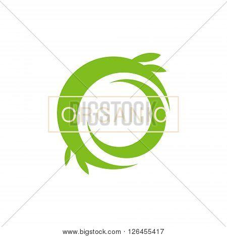 Green Swirl Organic Product Logo Cool Flat Vector Design Template On White Backgeound