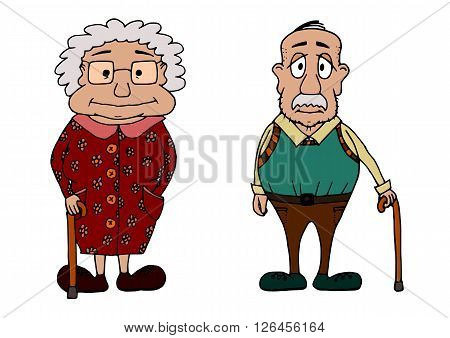 Cute chubby grandma and grandpa vectorized skatch