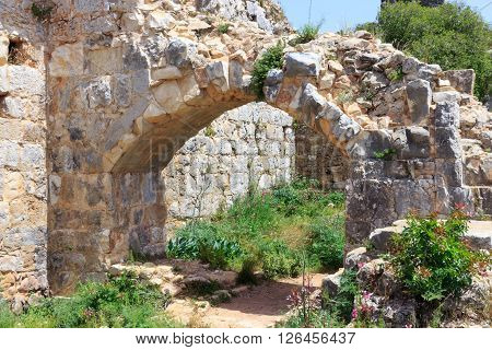 Montfort Castle ruins in northern Israel. Arched passageway through the halls.