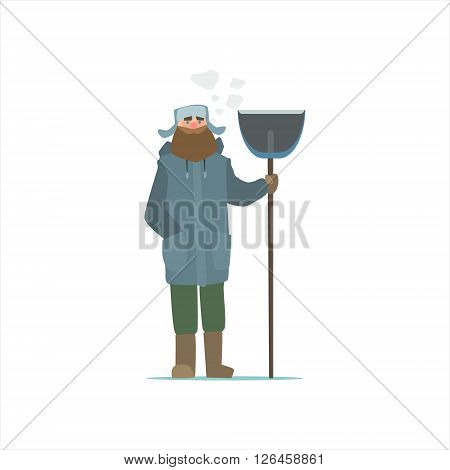 Janitor Outside In Winter Primitive Vector Flat Isolated Illustration On White Background