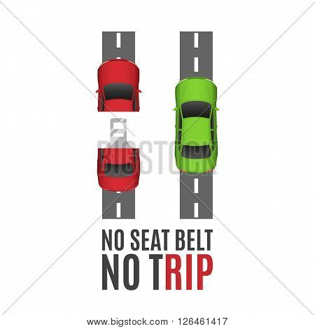 Safety belt conceptual background.Safety belt conceptual background with two cars, road and seat belt. Safe trip concept. Seat belt concept. Fasten Seat belt background. Vector illustration.