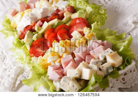 American Cobb Salad Close-up On A Plate. Horizontal