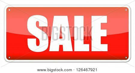Red card SALE isolated over white background