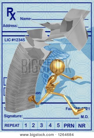 3D Running From A Pile Of Medical Bills Falling Concept