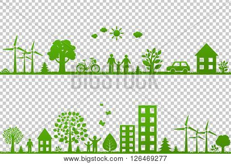 Eco Borders, Isolated on Transparent Background