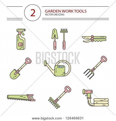 Vector modern line style color icons set of garden work tools: secateurs, spray, watering can, shovel, rake, fork, saw. Gardening and agriculture concept.