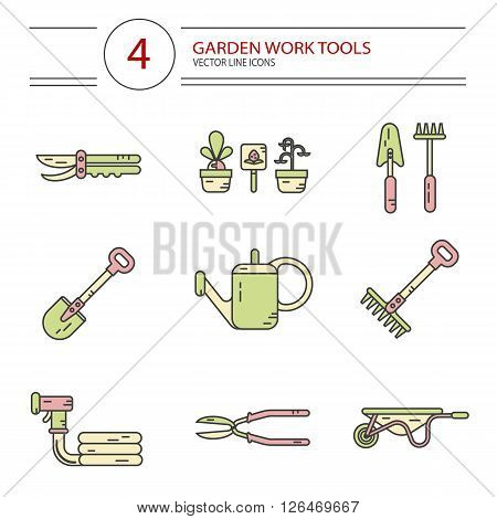 Vector modern line style color icons set of garden work tools: secateurs, watering can, shovel, rake, garden cart, garden hose. Gardening and agriculture concept.