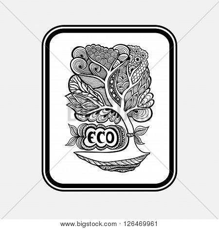 Badge or icon  with Zen-tangle or Zen-doodle tree black on white in rectangle or template emblem or symbol  ecology  or creative concept ecological researches  or scientific eco conference
