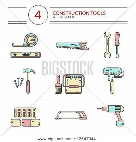 Vector modern line style color icons set of construction tools: hammer and nails, screwdriver, wrench, pliers, paint roller, paint bucket, brush, drill, tape line, scale, bricks, saw, hacksaw.