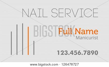 Nail service business card flat design template