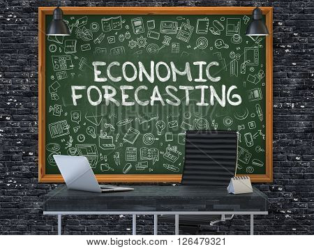 Hand Drawn Economic Forecasting on Green Chalkboard. Modern Office Interior. Dark Brick Wall Background. Business Concept with Doodle Style Elements. 3D.