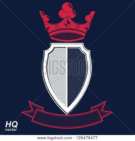 Empire design element. Heraldic royal coronet illustration - imperial striped decorative coat of arms. Luxury vector shield with king red crown and undulate festive ribbon. poster